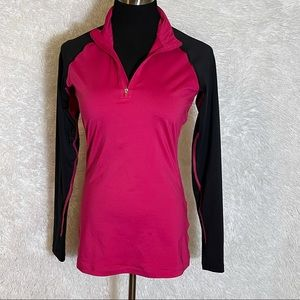 Nike Pro Pink Dri-Fit Fitted Half Zip Athletic Top